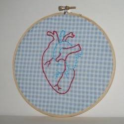 Anatomically Correct Heart Embroidery Hoop Wall Art